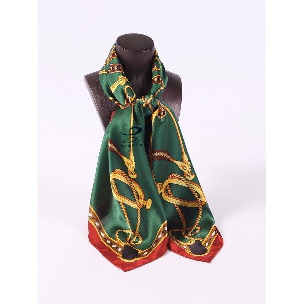Grønt silketørklæde med kæder og bælter