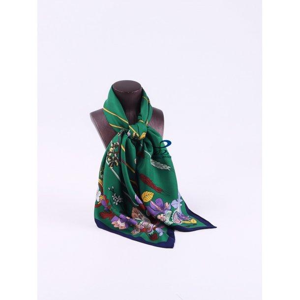 Grønt silketørklæde med kornblomster