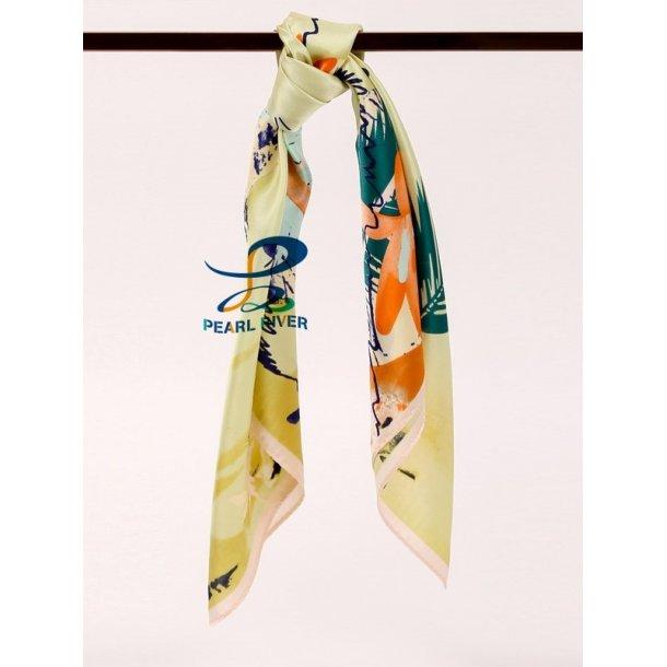 Gult silketørklæde med fuglefjer