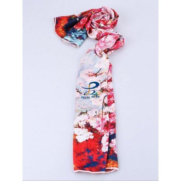 Langt rødt silkehalstørklæde