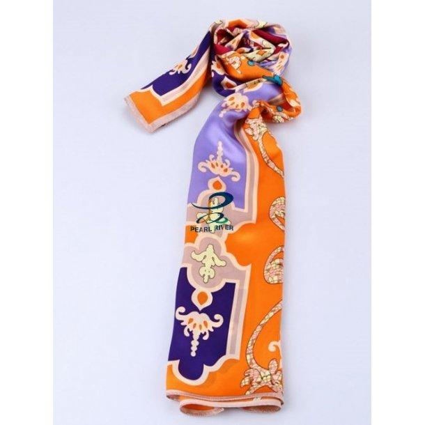 Langt orange silkehalstørklæde