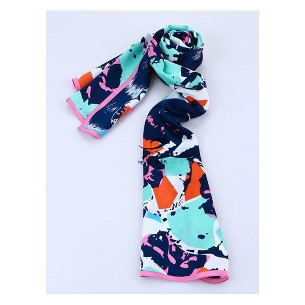 Langt fem-farver silkehalstørklæde