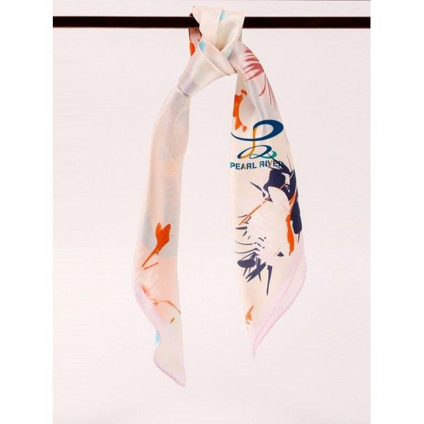 Lysorange  silketørklæde med fuglefjer