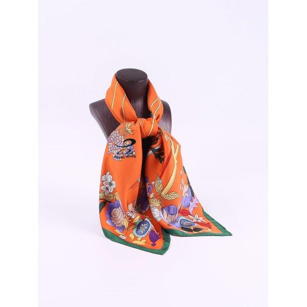 Orange silketørklæde med kornblomster
