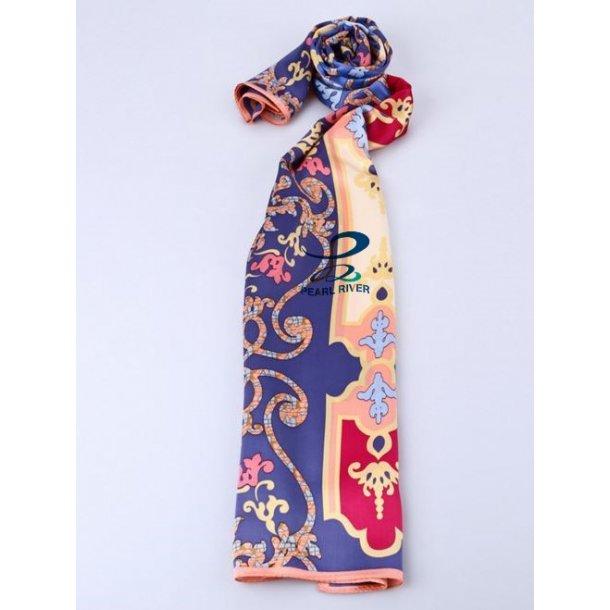Langt silkehalstørklæde i blå og orange