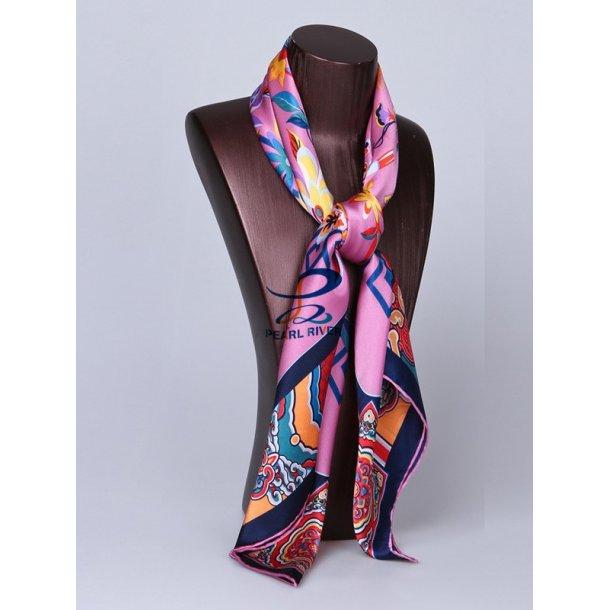 Lilla silketørklæde med blå og orange mønster