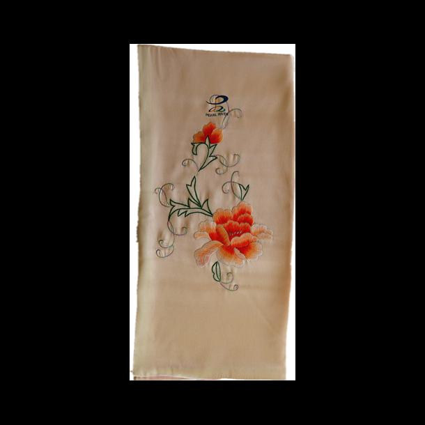 Silkehalstørklæde med bonderoser broderier