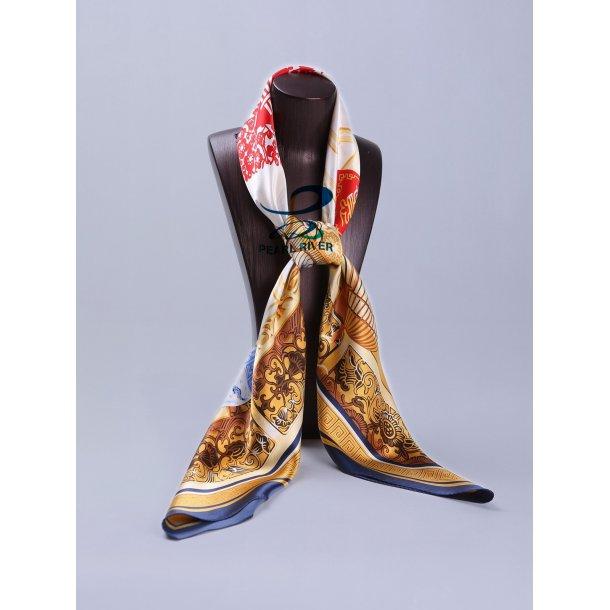 Silketørklæde med kinesisk nytårsdekoration