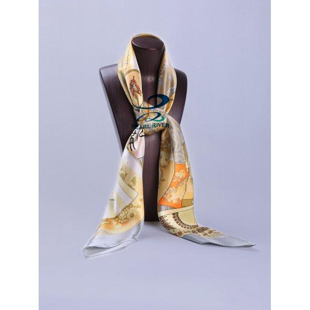 Silketørklæde med kinesisk vifter