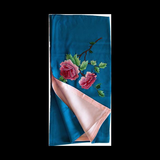 Silketørklæde med pæoner broderier