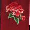 Silketørklæde med røde pæoner broderier