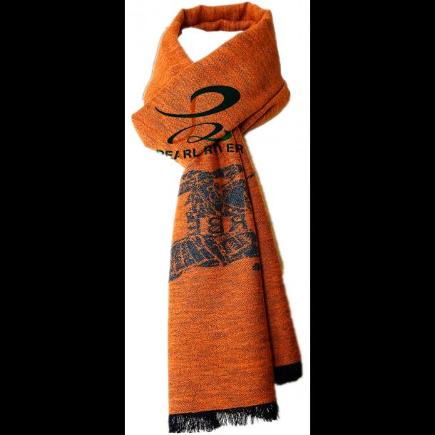 Gråt orangerødt silketørklæde med ridder motiv