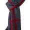 Gråt stribet silketørklæde med rødbrun farve
