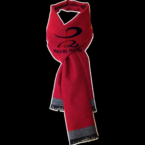 Mørkerødt gråt silketørklæde